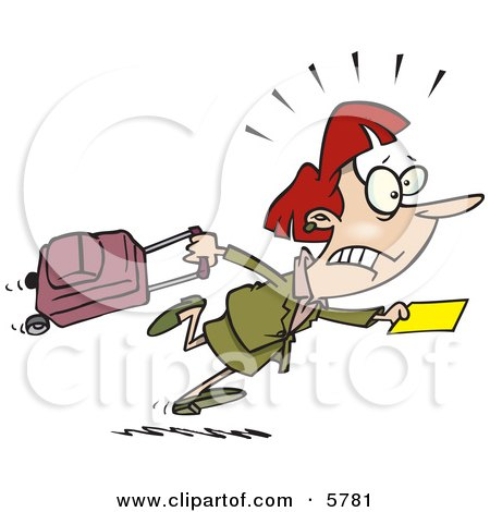 450x470 Woman In A Hurry To Catch Her Flight Clipart Illustration By