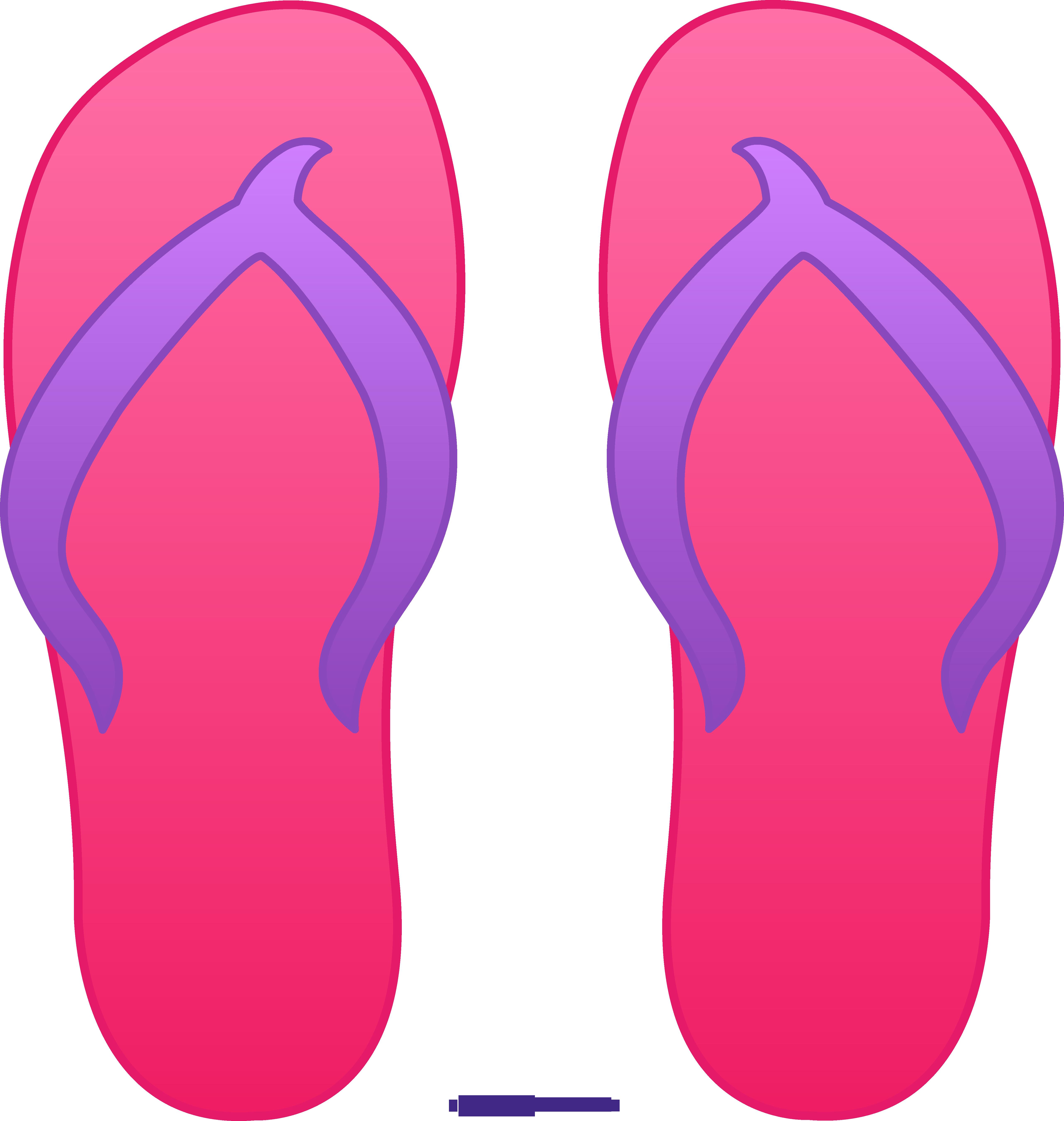 5124x5398 Pink Flip Flops Clipart