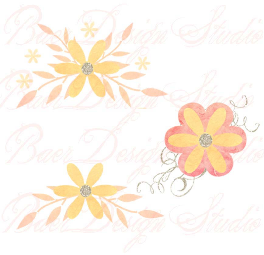 868x840 Coral Flowers And Swirls Digital Clip Art, Flower Clipart Png