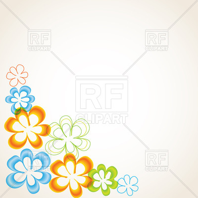 400x400 Greeting Card With Stylized Floral Corner Royalty Free Vector Clip