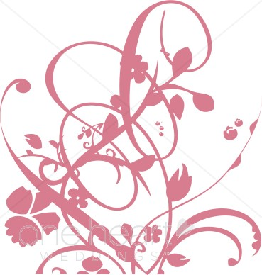 369x388 Pink Vine And Floral Flourish Clipart Clipart Color Variations