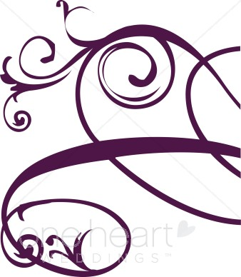 338x388 Purple Right Edge Floral Flourish Clipart Clipart Color Variations