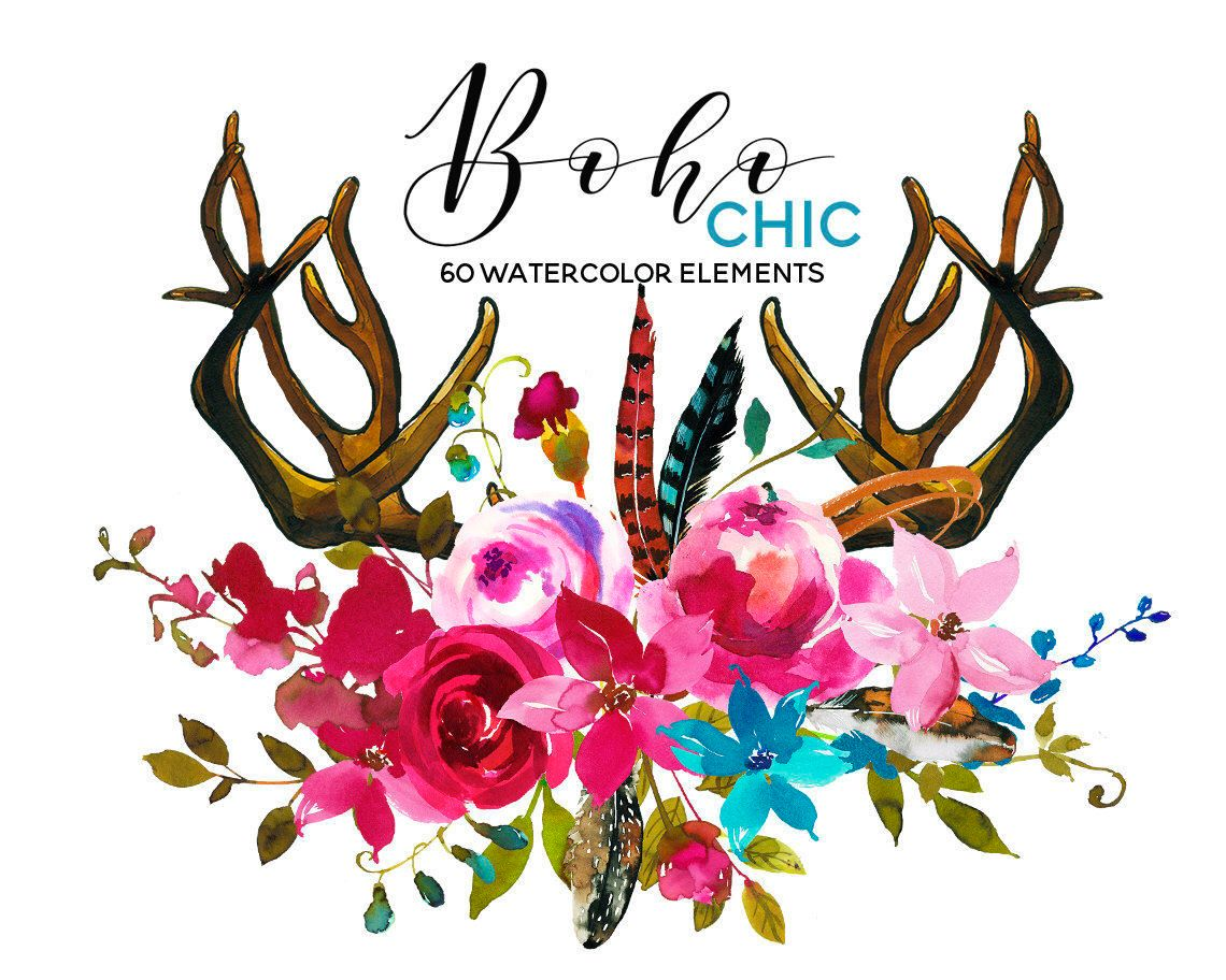 1140x912 Watercolor Boho Clipart Pink Blue Flowers Deer Scull Horns Antlers