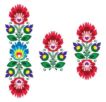 422x408 Polish Folk Art Floral Traditional Polish Pattern Premium Clipart
