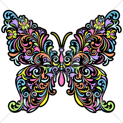 400x400 Abstract Floral Butterfly Royalty Free Vector Clip Art Image