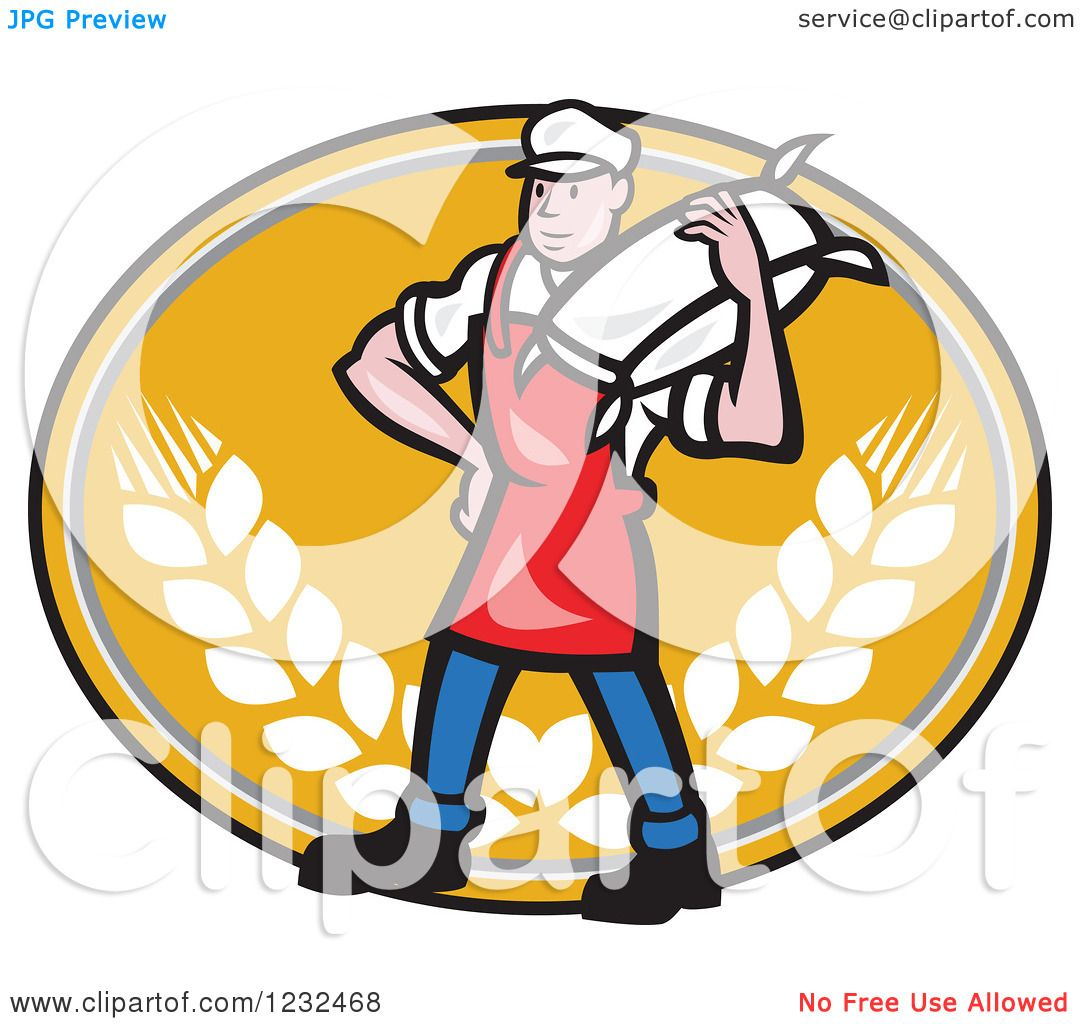 1080x1024 Clipart Of A Cartoon Flour Miller Worker Carrying A Sack On