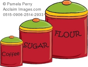 300x227 Coffee, Sugar, And Flour Kitchen Canisters Royalty Free Clip Art
