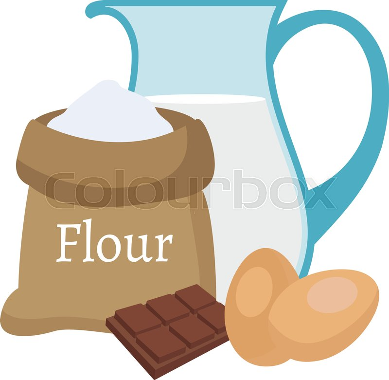 800x781 Illustration Of A Flour, Milk , Chocolate And Eggs Stock Vector