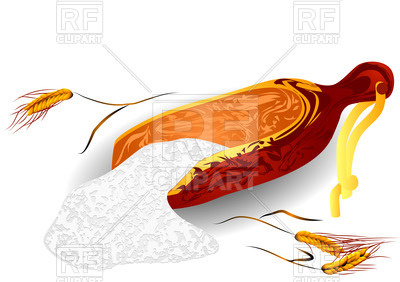 400x282 Wheat And Flour On A White Background Royalty Free Vector Clip Art
