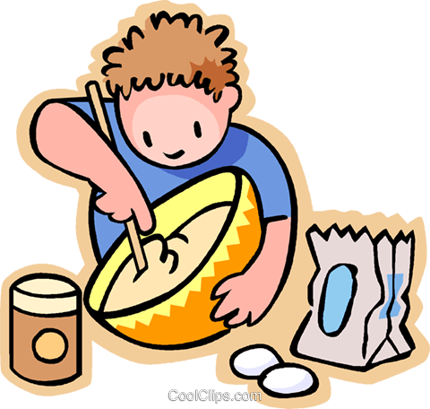 480x456 Little Boy Missing Flour In A Bowl Royalty Free Vector Clip Art