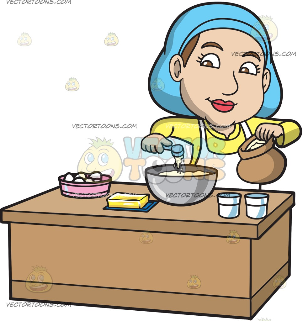 966x1024 A Woman Adding Flour Into The Cake Mix Cartoon Clipart Vector Toons