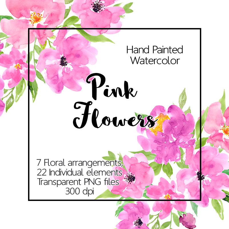 800x800 Flower Clipart Watercolor Pink Floral Clip Art Hand Painted