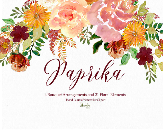 570x455 Paprika Watercolor Clipart Bouquet Elements Flowers Roses