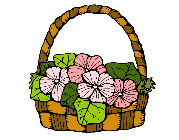 600x470 Colored Page Basket Of Flowers 6 Painted By Goofysteph