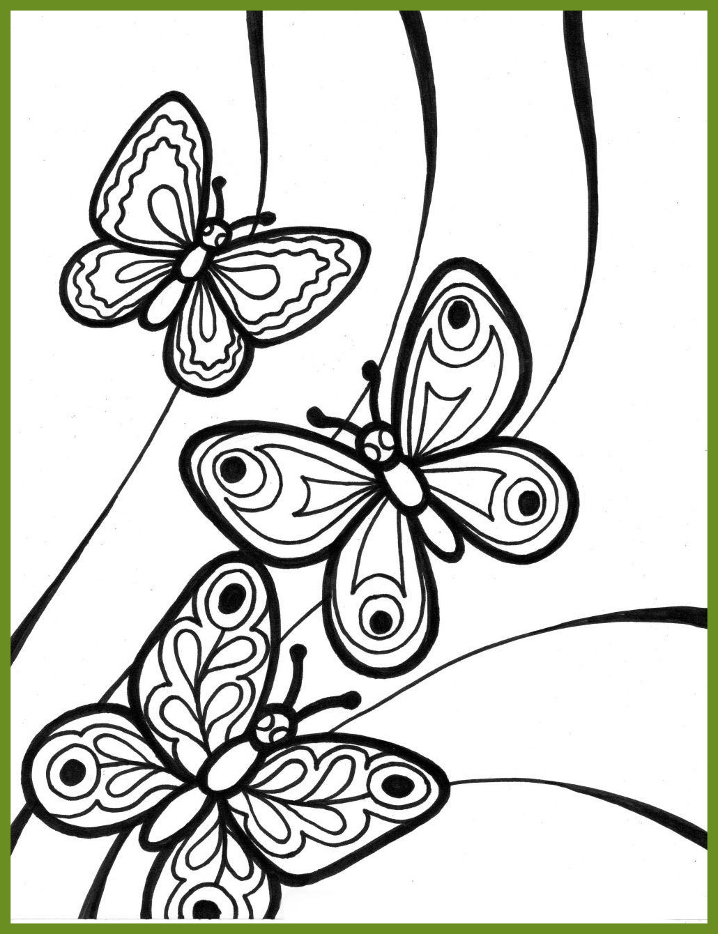 1030x1340 Coloring Pages Butterfly And Flower