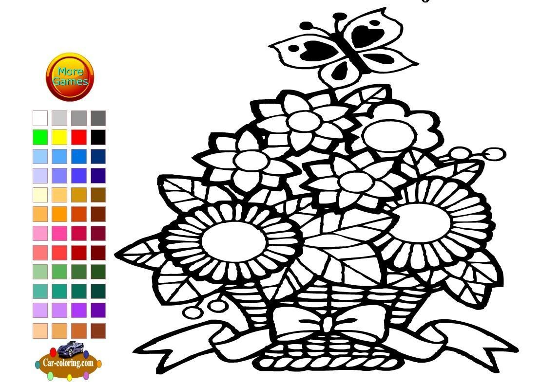 1147x791 Coloring Pages Of Flower Baskets Coloring Page Fun