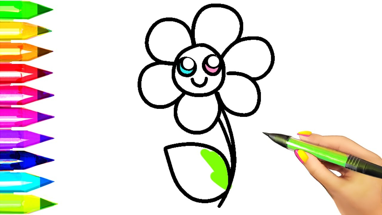 1280x720 Printable Flower Drawing Pages With Simple For Kids Coloring