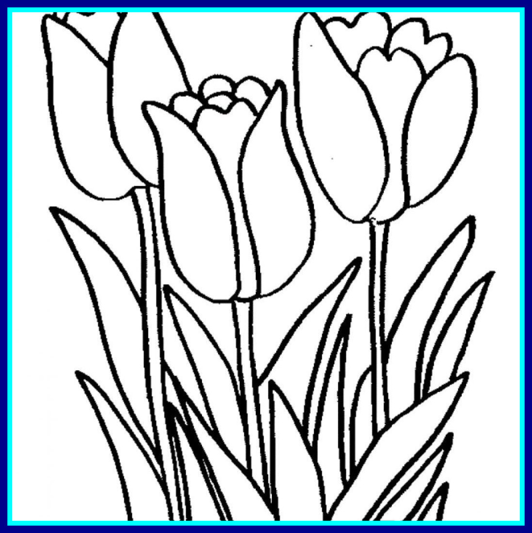 1098x1100 Tulip Flower Coloring Pages