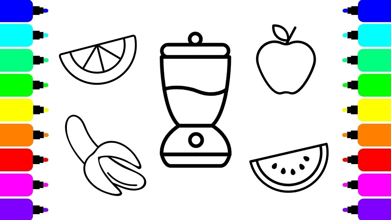 1280x720 Unique Fruit Smoothie Coloring Pages Collection Printable