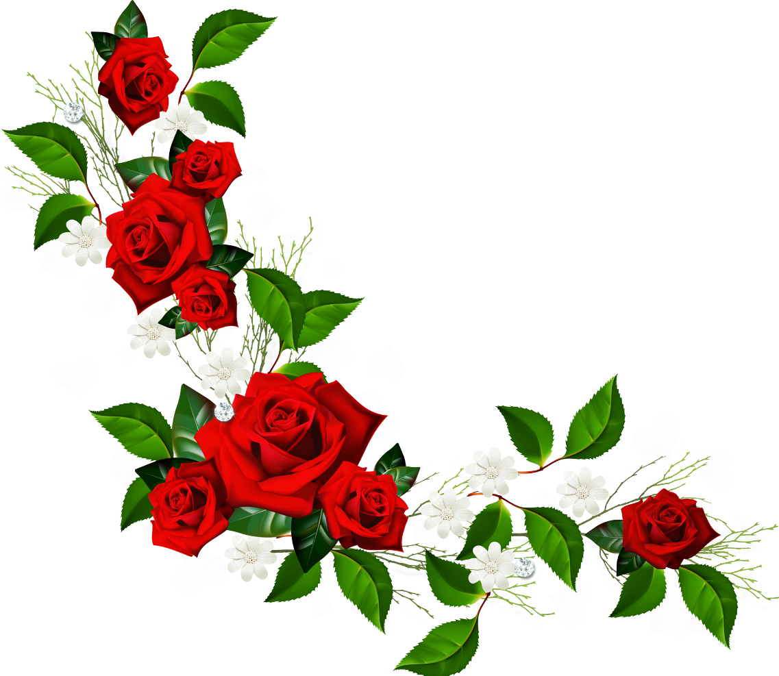 1137x987 Red Flowers Clip Art Border