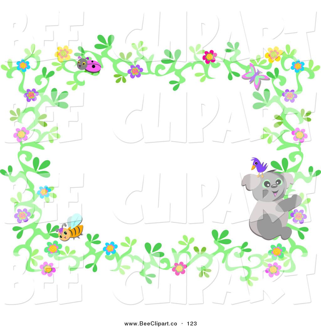 1024x1044 Vector Clip Art Of An Ivy Flower Border With A Ladybug, Koala