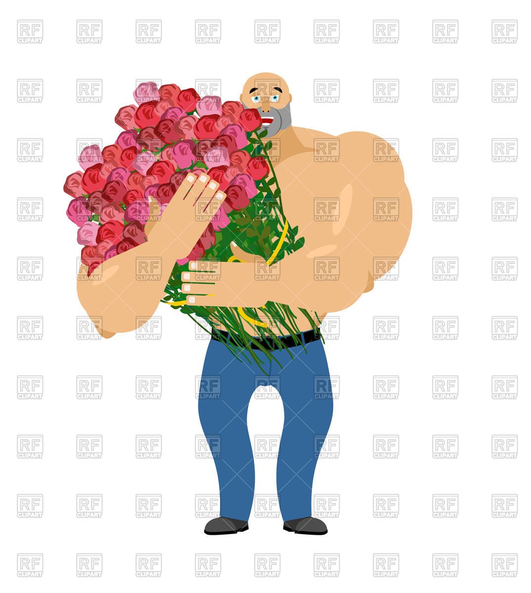 1074x1200 Man And Big Bouquet Of Roses Royalty Free Vector Clip Art Image
