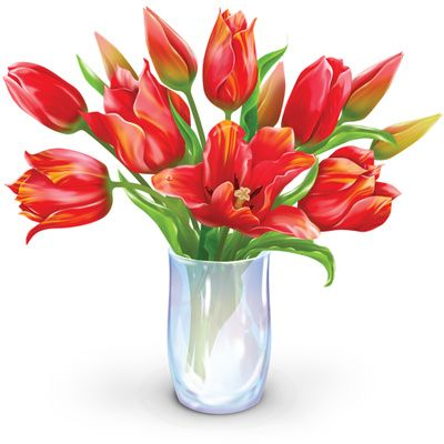 400x400 Vase Of Flowers Clip Art Flower Bouquet Clipart, Dozen Tulips