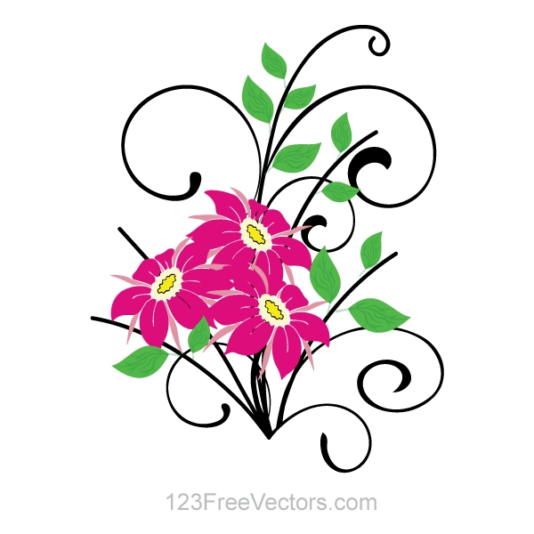 600x600 Clipart Flowers Vector Flower Bouquet Vector Clip Art Download