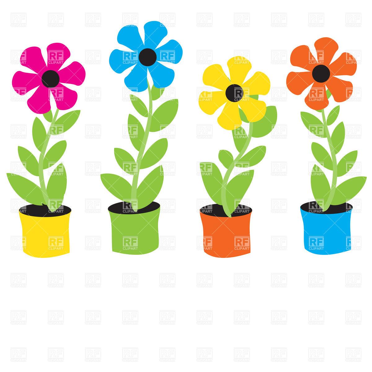 1200x1200 Cartoon Flowers In Flowerpots Vector Image Vector Artwork