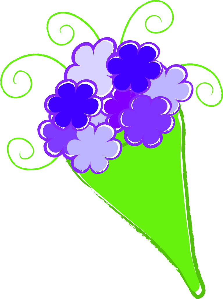 767x1024 Clip Art Illustration Of A Simple Bouquet Of Flowers