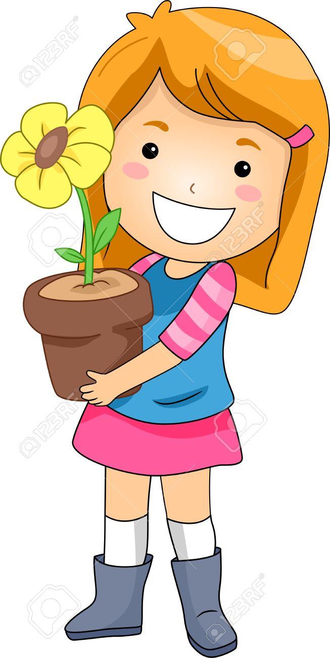 653x1300 A Girl Holding The Flower Clipart Cute Little Clip Art Vector