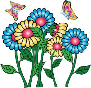 300x290 Flowers Clipart Image Butterflies Flying Around Flowers Clip Art