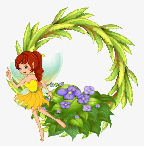 593x600 Cartoon Wreath Flower Fairy, Cartoon, Wreath, Flower Fairy Png