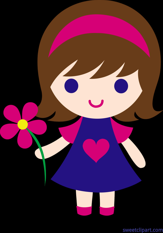 4330x6214 Little Girl Flower Clip Art