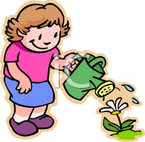300x293 Clip Art Image A Smiling Girl Watering A Flower