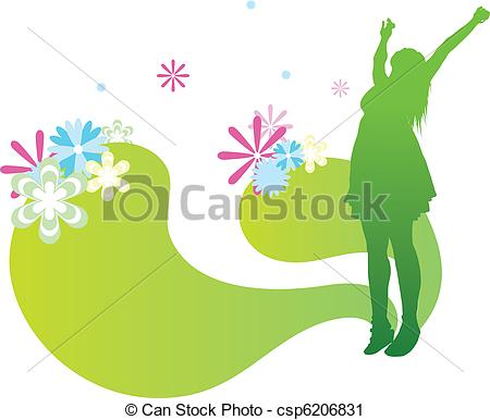 450x386 Young Silhouetted Flower Girl With Flowers Growing From Vector