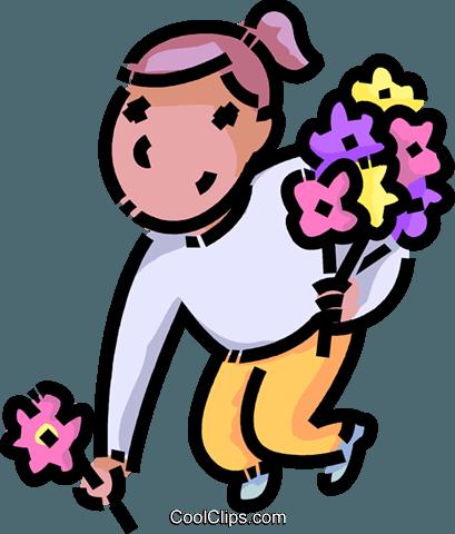 409x480 Girl Picking Flowers Royalty Free Vector Clip Art Illustration