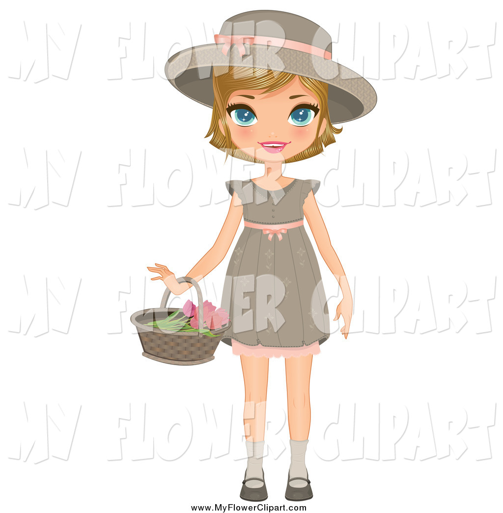 1024x1044 Clip Art Of A Blond White Girl Holding A Flower Basket By