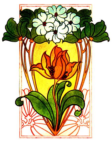 451x574 Flower Clipart Art Deco
