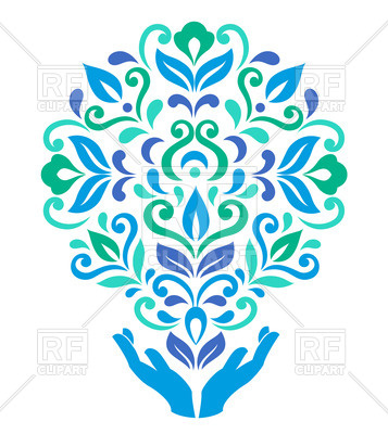 357x400 Hands Holding Colorful Flower Royalty Free Vector Clip Art Image