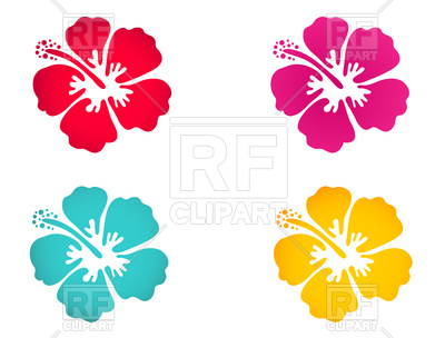 400x304 Hibiscus Flower Icon Set Royalty Free Vector Clip Art Image