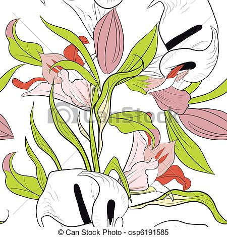 450x470 Seamless Pattern With Lily Flowers Clipart Vector