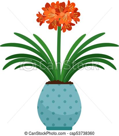 412x470 Clivia House Plant In Flower Pot, Vector Icon On White Clip Art
