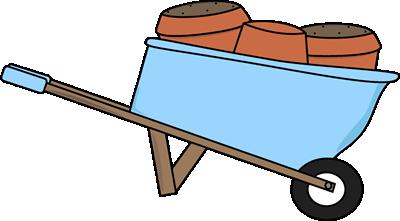 400x221 Wheelbarrow Filled With Flower Pots Clip Art