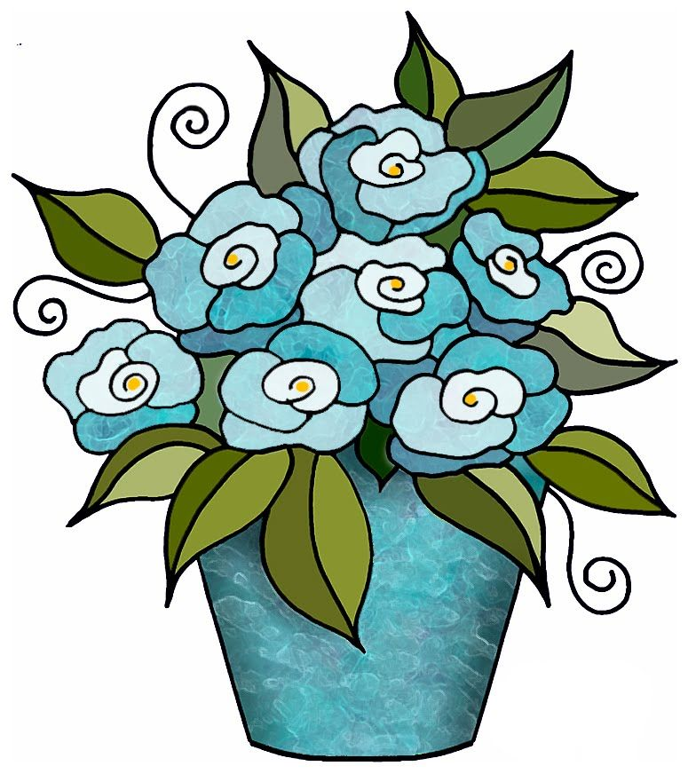 775x872 Artbyjean Clipart Flower Pot Flowers In Bunches
