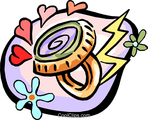 480x389 Mood Ring With 60's Flower Power Motif Royalty Free Vector Clip