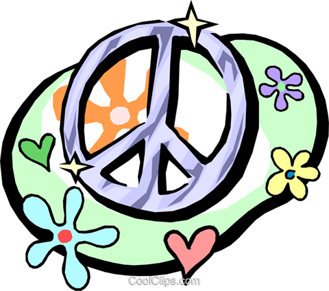 480x424 Peace Sign With Flower Power Symbols Royalty Free Vector Clip Art