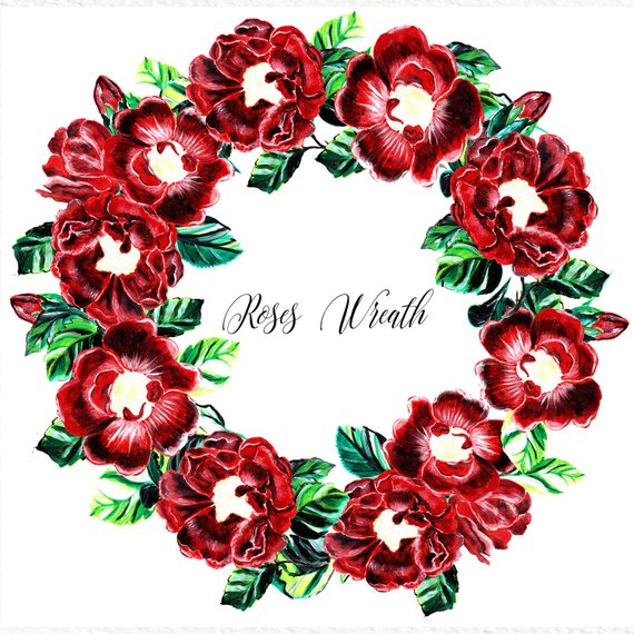 570x570 Roses Wreath, Flower Wreath Clipart, Floral Wreath, Red Rose