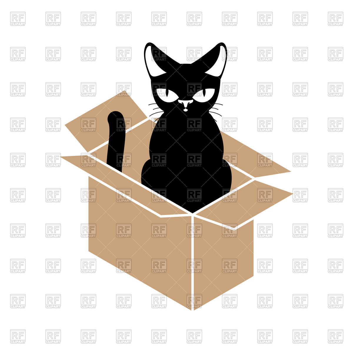 1200x1200 Cat In Box Royalty Free Vector Clip Art Image