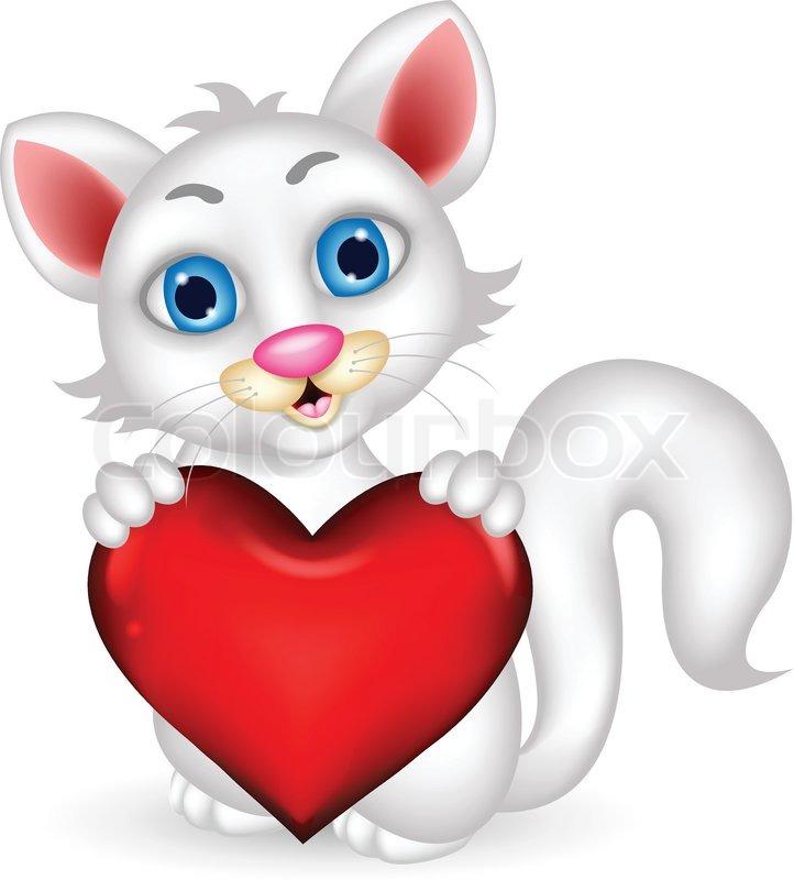 722x800 Cute Fluffy White Cat Holding Heart Love Stock Vector Colourbox